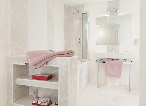 Property Interior - bathroom with bath, basin and towels